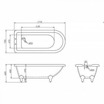 Baignoire autoportante design en acrylique blanc 1770x795 mm