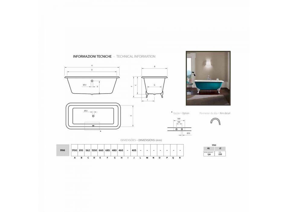 conception de bain autoportant en fonte avec pieds décorés Wanda