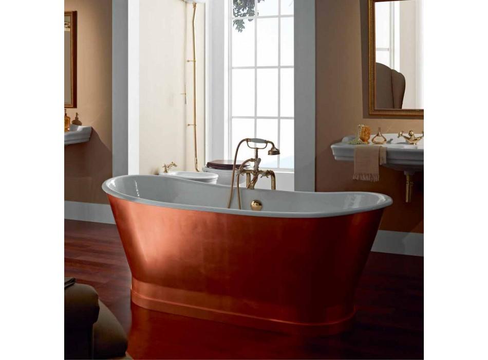 Autoportante baignoire avec feuille de cuivre en fonte de revêtement extérieur basse