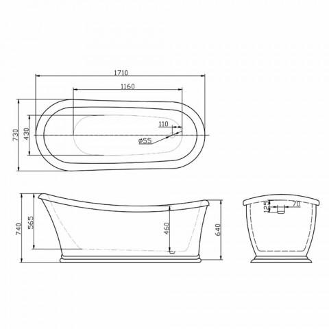 Baignoire autoportante blanche moderne en acrylique Hiver 1710x730 mm