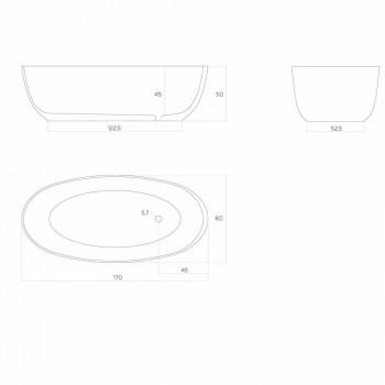 Baignoire monobloc de forme ovale moderne fabriquée en Italie, Frascati