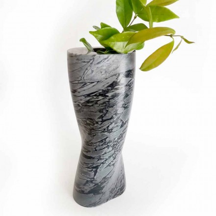 Vase décoratif moderne en marbre Bardiglio Fiorito fabriqué en Italie - Dido