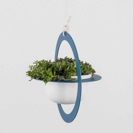 Vase à fleurs à suspendre en acier et céramique fabriqué en Italie - Leotta