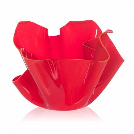 Vase rouge drapé de design intérieur/extérieur Pina, fait en Italie