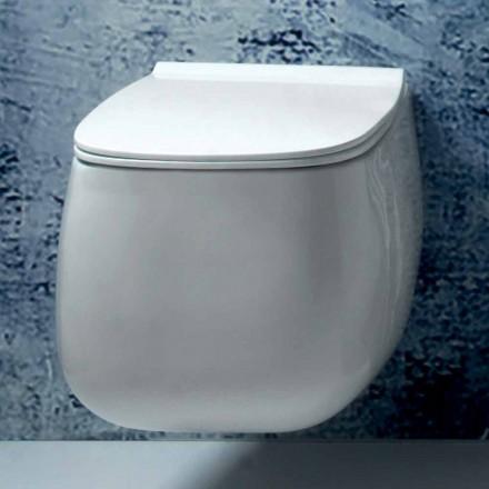 Vase suspendu en céramique blanche au design moderne Gaiola, fabriqué en Italie