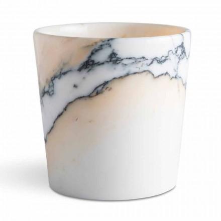 Vase arrondi en marbre Paonazzo fabriqué en Italie, 5 pièces - Murlino