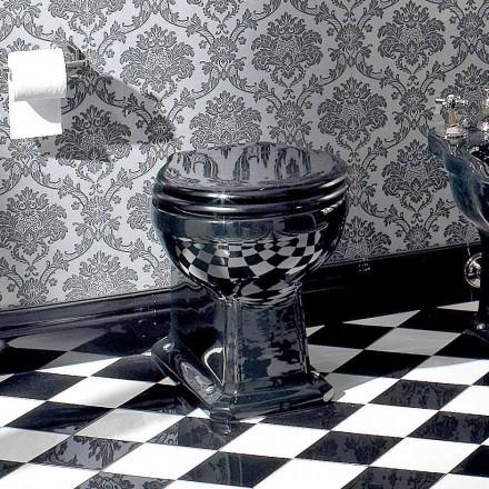 Vase de sol Wc Classic en céramique noire avec siège, fabriqué en Italie - Marwa
