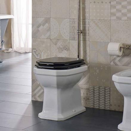 Vase de sol en céramique blanche avec siège noir fabriqué en Italie - Nausica