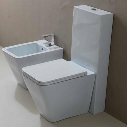 WC en céramique blanche au design moderne Sun Square, fabriqué en Italie