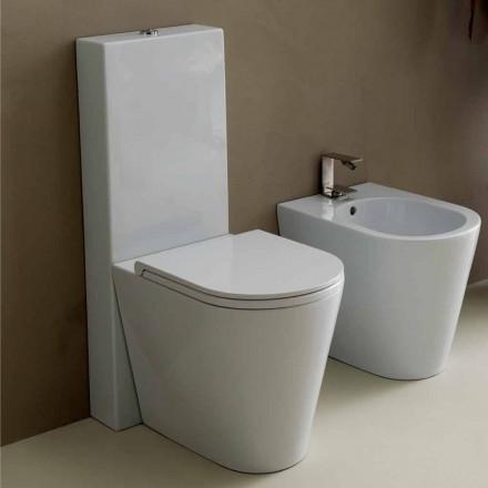 Vase Sun Round WC en céramique blanche moderne 57x37 cm fabriqué en Italie