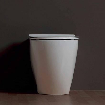 Vase de toilette moderne en céramique blanche Shine Square Rimless, fabriqué en Italie