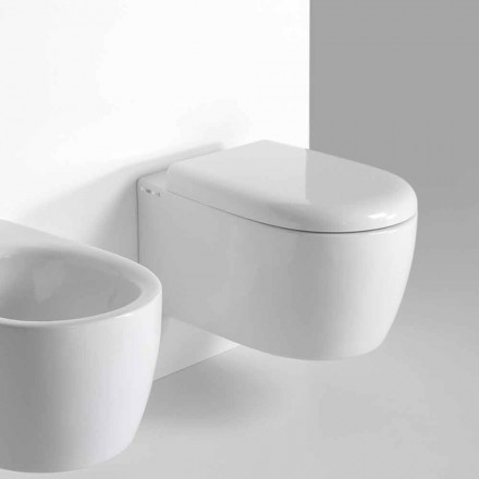 WC suspendu design moderne en céramique colorée Made in Italy - Lauretta