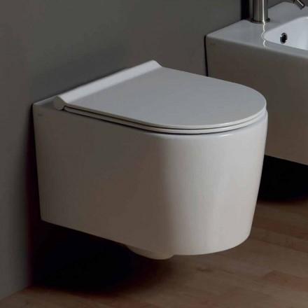 Vase de toilette suspendu en céramique au design moderne Shine Square, fabriqué en Italie