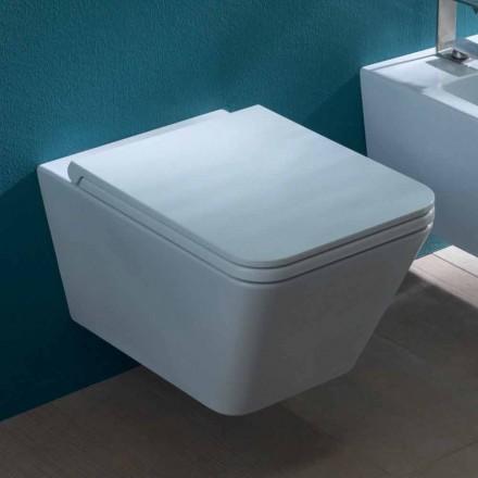 Vase de toilette suspendu en céramique au design moderne, Sun Square fabriqué en Italie