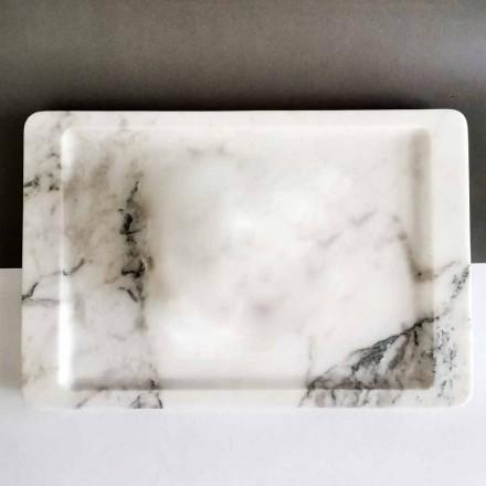 Plateau rectangulaire en marbre blanc veiné moderne fabriqué en Italie - Stora