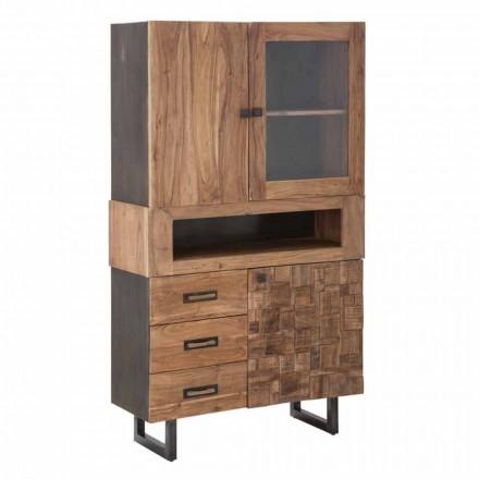 Vitrine moderne avec tiroirs et portes en verre de fer et bois d'acacia - Dianna