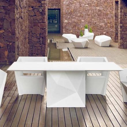 Vondom Faz table de jardin laquée blanche L200xP100cm de design