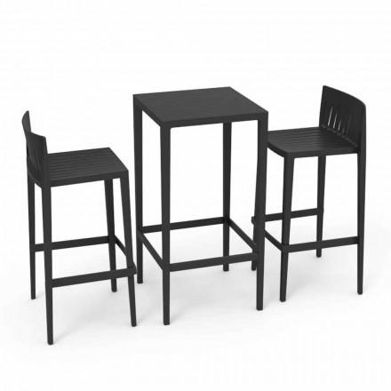 Vondom Spritz set meubles de jardin table et deux tabourets noirs